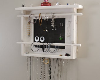 Jewelry Holder, Wall Mounted Jewelry Organizer, with 2 Bracelet Bars. Shown in Whitewash with your choice of metal backgrounds.