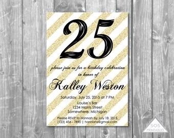 Gold Birthday Invitation, Black and Gold Party, Adult Birthday Party, Adult Birthday Invitation, Printable Invitation, Digital Invitation