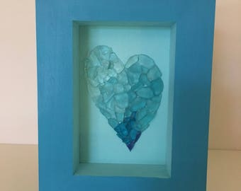 Turquoise Frame with Beach Glass Heart
