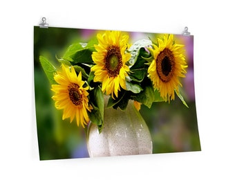 Wall Decor Room Decor Wall Art Poster - Sunflowers In Vase Poster Premium Matte Horizontal Posters