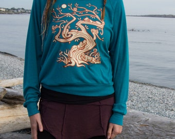 Green Pullover with Tree of Life Print Forest Friends Teal Long Sleeve Hippy Sweatshirt American Apparel Tri Blend Sizes (S M L)