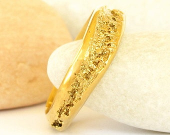 Organic gold ring - 18k Small Creek ring - Unique Rustic solid 18k gold ring - Natural wedding ring