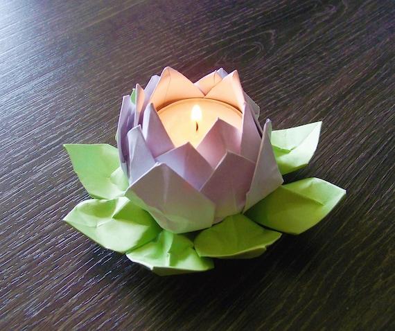 Photophore lotus cache pot ou porte photophore mtallique rose en forme de fleur pour pot lotus - Origami fleur de lotus ...