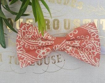 Boys orange bow tie, off white bow tie, spring bow ties, boys orange floral bow ties