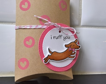 Dog Gift Card Holder,  Valentine's Day Gift Box, Anniversary Gift, Dachshund Gift Wrap, Jewelry Box, Doxie Gift Card Envelope Dog Pillow Box