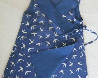 Reversible Wrap Dress with swallow print