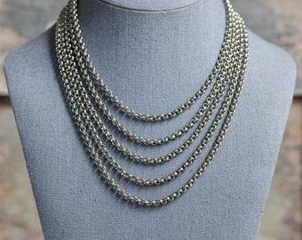 Vintage Silver Torsade Necklace, Vintage 5 Strand Silver Necklace, Vintage Silver Rolo Chain Necklace
