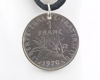 French Coin Necklace, 1 Franc, Coin Pendant, Leather Cord, Mens Necklace, Womens Necklace, Birth Year, 1970