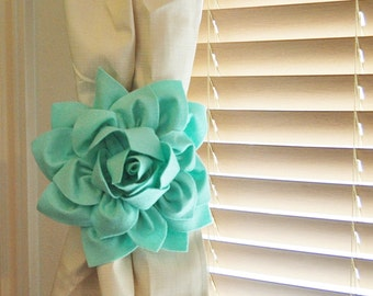 TWO Dahlia Flower Curtain Tie Backs Curtain Tiebacks Curtain Holdback -Drapery Tieback- Baby -Nursery Decor- Mint Green Decor