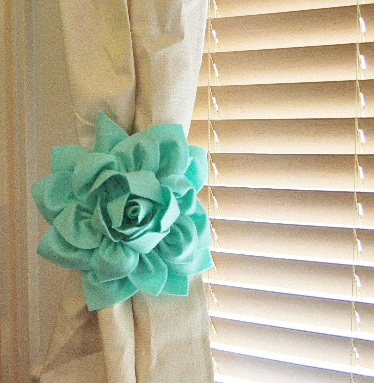TWO Dahlia Flower Curtain Tie Backs Curtain Tiebacks Curtain