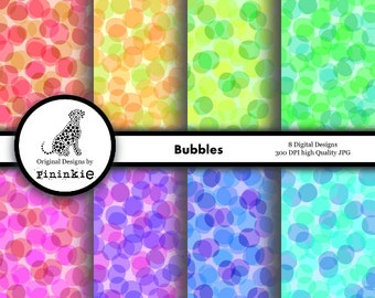 Bubbles Digital Paper Pack - INSTANT Download - Abstract Digital Scrapbook Paper - Digital Scrapbooking - Commercial Licence