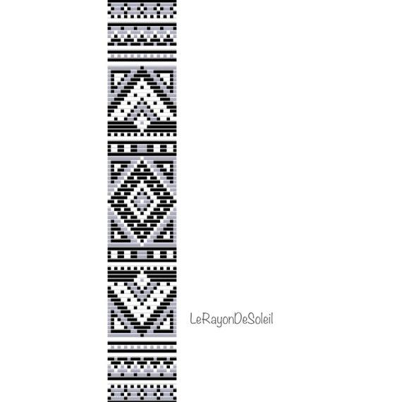 Bead loom pattern black white ethnic loom theme Bracelet