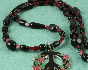 Peace Rose - Red Rose Peace Sign Necklace