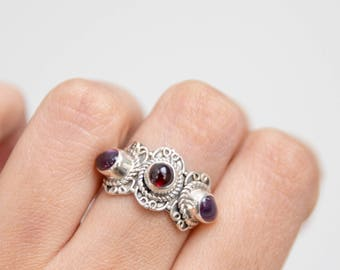 Ring * Silver Ring * Amethyst *  Statement Ring * Garnet * Unique Ring * Amethyst Ring * Garnet Ring * One Of a Kind * Red Gemstone * Purple