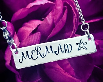 Mermaid Hand Stamped Necklace. Mermaid Necklace, Mermaid Jewelry, Mermiad Gift, Ocean Necklace, Ocean Jewelry, Beach Necklace, Beach Jewelry