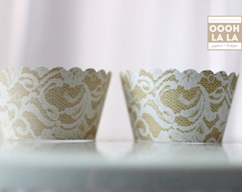 MADE TO ORDER Floral-style Lace and Burlap Style Cupcake Wrappers- Set of 12