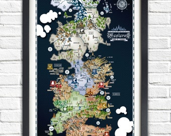 Westeros etsy game of thrones westeros map 19x13 poster gumiabroncs Image collections