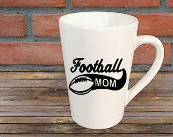 Football Mom Sports Mug Coffee Cup Kitchen Decor Bar Gift for Her Him Jenuine Crafts