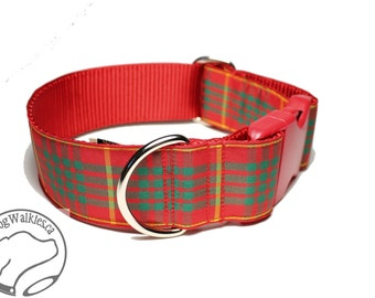 """NEW - Cameron Clan Tartan Dog Collar - 1.5"""" (38mm) Wide - Red and Green Plaid - Martingale or Side Release -Choice of collar style and size"""