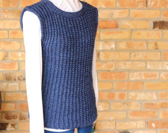 Knitting Pattern for Rib Knit Sweater, Knitted Vest Patterns, Rib Knit Tunic Pattern, Knit Sweater Pattern, Ribbed Knitting Pattern