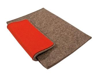 Feutre de laine Laptop Sleeve-Housse pour 10 pouces Netbook/ordinateur portable/tablette - gris naturel avec rabat couleur, plusieurs couleurs disponibles, pour ordinateur portable