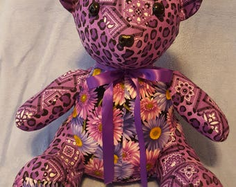 Purple patchwork teddy bear made from a Funky Friends Factory Pattern