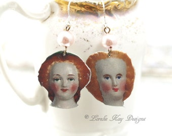 A Study in Dolls Mismatched Earrings Redhead Ginger Antique Doll Images Earrings Pretty China Doll Heads Lorelie Kay Original