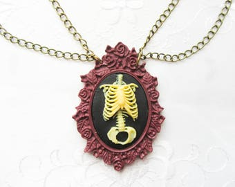 Gothic Cameo Necklace / Skeleton Necklace / Gothic Necklace / Large Cameo Necklace / Goth / Necklace