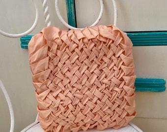 Vintage Smocked Pillow,  Vintage Pink Smocked Pillow, Vintage Decorative Pillow, Vintage Smocked Throw Pillow, Mid Century Throw Pillow