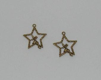 5 pendants on antique bronze 28x25mm star Angel