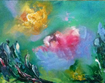 Original oil painting for sale, small paintings, abstract art, contemporary painting, original fine art, wall decor, - Garden Fantasy I