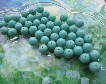 Czech Preciosa 8mm Opaque Turquoise Glass Beads 30Pcs.