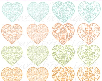 Digital Clip Art for Mint & Nectarine wedding Hearts Clipart / DIY Projects / Cardmaking /Labels /Invitations 0182