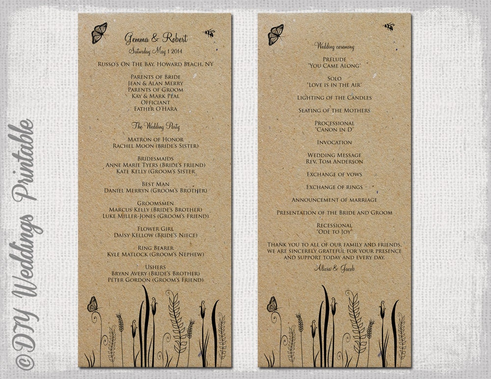 Free Download Wedding Program Template Aprilonthemarchco - 5x7 wedding program template