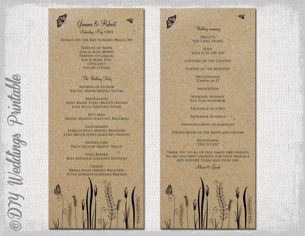 Rustic Wedding Program Template Butterfly Meadow - Editable wedding program templates