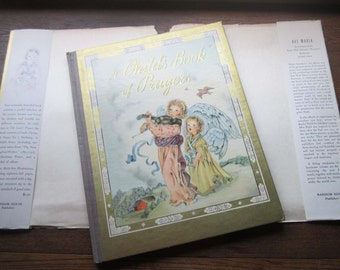 Vintage 1940's A Child's Book of Prayers *  Louise Raymond,  Masha, Artists and Writers ,New York,  Random House, 1941, 12 x 9.25 in