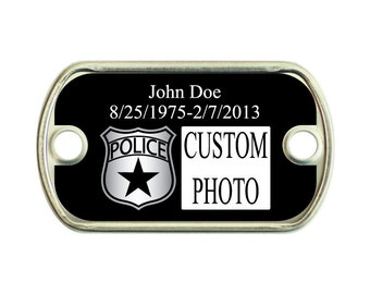 Memorial Police 2 Holes Stainless Steel Mini Dog Tag For Paracord Bracelets