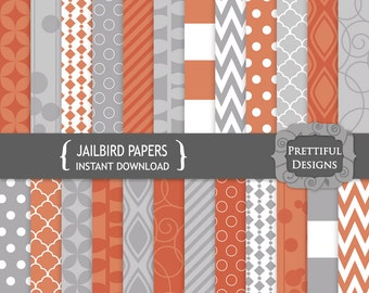 Orange and Gray Digital Paper Pack Geometric Patterns Commercial Use