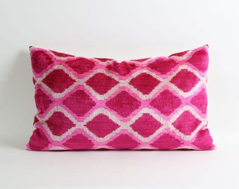 ikat velvet pillow, pink ikat pillow cover, velvet pillow, 16x26 pink pillow cover, pink handwoven ikat pillow