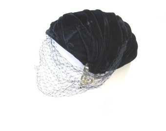 Womens Hat With Veil Navy Blue Velvet