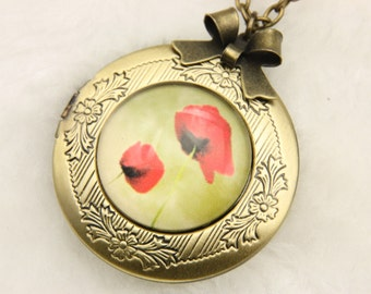 Necklace locket photo poppies 2020m