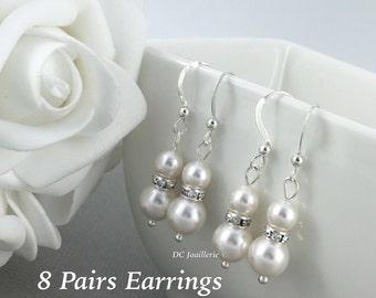 8 Pairs Bridesmaid Earring Pearl Earrings Drop Earrings Dangle Earrings Bridesmaid Gift Bridesmaid Earrings Gift for Bridesmaid