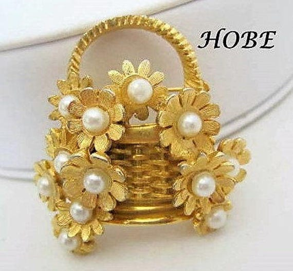 Pearl Covered Basket Pin, Flowered  Signed Hobe, Faux Pearls, Gold Tone,  Wedding Brooch