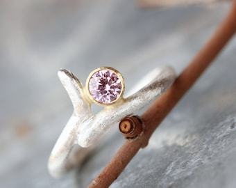 Rustic Modern Pink CZ Branch Engagement Ring Silver 18K Yellow Gold Minimalistic Candy Textured Twig Bridal Zen Romantic - Square Branch