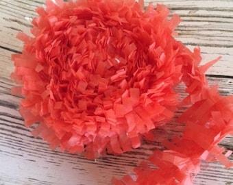 Tissue Paper Garland, Festooning, Tissue Festooning Garland, Paper Fringe, Coral  Festooning Tissue, 25 Feet