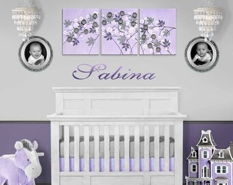 Lilac Purple and Gray Nursery Wall Art, Large Mixed Media Flowers on Canvas Triptych Painting in Lilac - 50x20