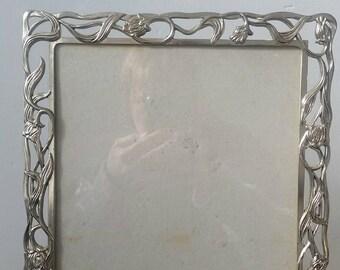 Large Floral Metal Picture Frame. Vintage Metal print frame. Heavy print frame. Vintage photo frame.