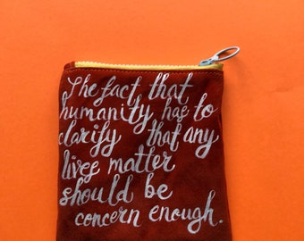 """6""""x6"""" orange suede zippered leather pouch"""