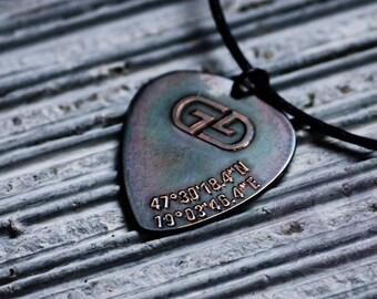 Monogram Necklace, Modern Initials, GPS coordinates, Monogram or Name necklace, Handmade, Birthday, Christmas gift