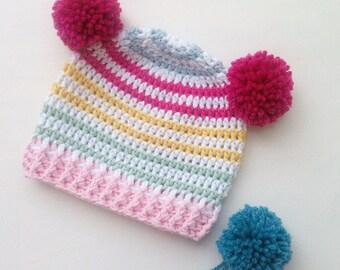 Beanie Crochet, Crochet Hat, Beanie Hat, Beanie Hat Women, Beanie Hat Kids, Beanie Girls, Beanie Women, Beanie Baby, Pom Pom, Blumargot